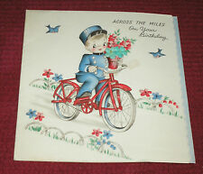 Vintage 1940s Hallmark CUTE Across the Miles Boy Bicycle Birthday Greeting Card