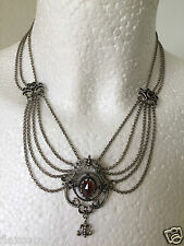 Antike Granat Trachten Kette/Collier 800 Silber diverse Punzen 31,0 g Garnet