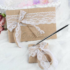Rustic Garden Flower Burlap Wedding Guest Book + Pen Stand Set With Bow-knot New
