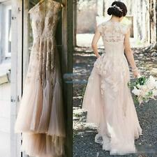 Vintage light pink Tulle Wedding Dresses Cap Sleeve Appliques Lace Bridal Gowns