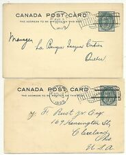 1899  CANADA MONTREAL x 2 1c P STATIONERY CARDS 1 EX STAMP DEALERS BROSSEAU BROS