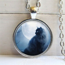 New cat and moon Cabochon Silver plated Glass Chain Pendant Necklace #03