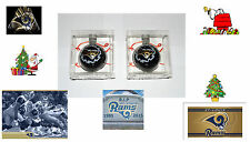THE LATE ST. LOUIS RAMS. GLASS CHRISTMAS TREE ORNAMENTS. 2 BRAND NEW PIECES.