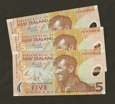3 x 2004  New Zealand $5 Dollar  P185b Uncirculated