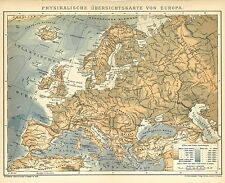 Alte historische Landkarte 1898: Physikalische Übersichtskarte von Europa. (B14)