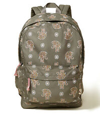 Hollister Elephant Printed Nylon Backpack by Abercrombie  OLIVE - NWT