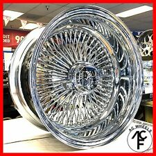 14x7 REVERSE 100 SPOKE WIRE WHEELS STRAIGHT LACE CHROME RIMS (4pcs)