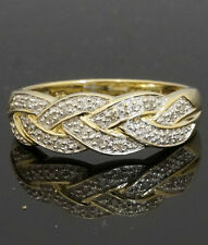 9carat Yellow Gold Diamond Celtic Woven Ring (Size P) 6mm Head Width