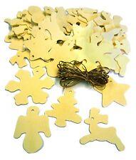 ALBERO di Natale Decorazione Set di 50 forme in legno misto a dipingere & Corda d'Oro