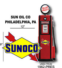 """12"""" 1962-PRES SUNOCO GASOLINE DECAL FOR OIL CAN / GAS PUMP / LUBSTER 2"""
