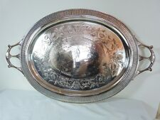 """THISTLE & LEAF LARGE OVAL TRAY 26"""" 159 BY THE ACME SILVER CO TORONTO 1885"""