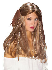Ladies Deluxe Pirate Captain Wench Buccaneer Caribbean Wig Fancy Dress Accessory