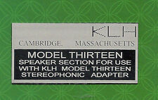KLH MODEL THIRTEEN 13 SPEAKER METAL BACK LABEL
