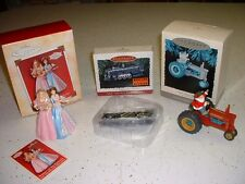 3 HALLMARK KEEPSAKE ORNAMENTS LIONEL TRAIN BARBIE PRINCESS SANTA DEER TRACTOR