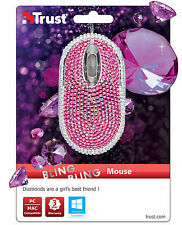 TRUST 20185 BLING BLING SPARKLY PINK OPTICAL USB MINI MOUSE