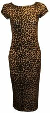 NEW WOMENS LADIES SHORT CAP SLEEVE PRINTED STRETCH BODYCON KNEE LONG MIDI DRESS