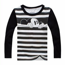 Autumn Kids Boys Girls Long Sleeve T-Shirt Tops Warm Mickey Mouse Print Pullover