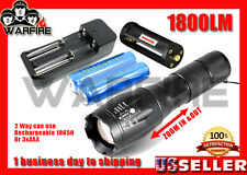 1800LM CREE XM-L T6 LED Zoomable Focus Flashlight Torch+18650Battery Charger3AAA