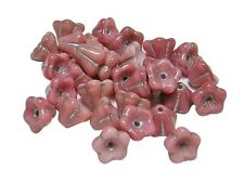 6x8mm Silver Inlayed Rose Pink Czech Glass Bell Flower Beads (30) #3419