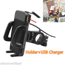 Universal Cellphone Mount Holder Motorcycle Handlebar Phones Mount +USB Charger