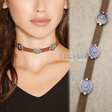 Blogger Girls Brown Suede Leather Concho Tie Choker Collar Bib Wrap Necklace H9
