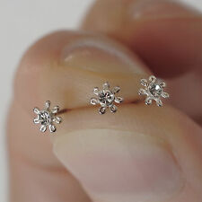 3 x Small 925 Sterling Silver Crystal Flower Nose Studs Body Piercing Jewellery