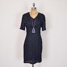 vtg 80s art deco glam SEQUIN BEAD TROPHY COCKTAIL PARTY SHEATH mini midi dress S