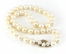 14k Gold Diamond & 11-12mm Cultured Saltwater Pearl Necklace Single Strand 20""