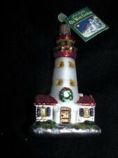 TAGGED Merck Family's Old World Christmas Glass Ornament 2001 Red Lighthouse