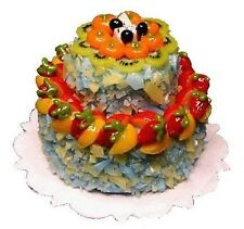 2-Tiered Fruit Topped Cake Dollhouse Miniature - Bright Delights #K1206