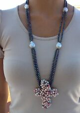 Baroque pearl necklace with cross pendant pearl macrame made in Italy