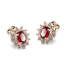 GORGEOUS 18K GOLD PLATED GENUINE RUBY RED SWAROVSKI CRYSTAL CLIP-ON EARRINGS
