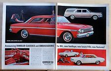 1963 two page magazine ad for Rambler - 1964 Classic & Ambassador models