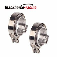 2Pc 2.5''63mm turbo pipe wastegate exhaust stainless V-band clamp+flange