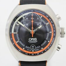 Pre-Owned ORIS Chronoris SS/Leather Black Men's Auto Watch 01 672 7564 4154, MR