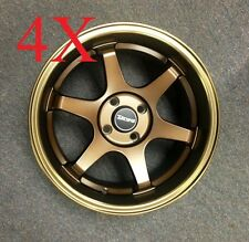 DragWheels Dr53 16x8.25 4x100 +25 Bronze Step Lip Rims Fit Integra Mini Cooper