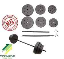 Gold's Gym 100 lbs Cement Weight Set Squating Lifting Curling Barbell Exercise