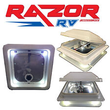 """Caravan Roof Hatch with LED Lights & Fan (two switches) (355x355mm)""""14"""" Cut Out"""