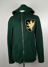 100% Authentic BALMAIN Embroidered Cannetille Crest Emblem Hoodie XL Green MINT