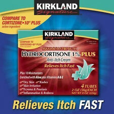 KIRKLAND 1 % HYDROCORTISONE CREAM ANTI-ITCH RASH RELIEF WITH ALOE (4) 2 OZ TUBES