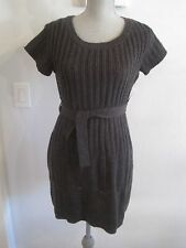 Jessica Simpson Dark Charcoal Gray Cable Knit  Aurelio Belted Sweater Dress Med.