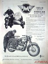 1961 Motor Cycle Combination ADVERT - Matchless '650cc Model G12' print AD