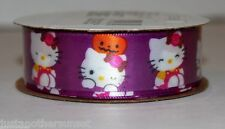 "Hello Kitty Print Halloween Purple Pumpkin Ribbon 7/8""x9' 100% Polyester Party"