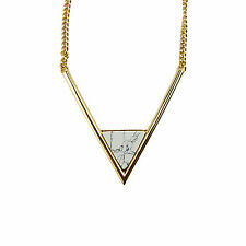 Natural White Turquoise Triangle Quartz Marble 18K GP Big V Necklace
