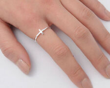Silver Tiny Cross Ring Sterling Silver 925 Plain Best Deal Jewelry Gift Size 3