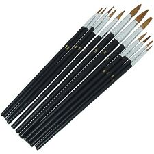 12 Piece Pointed Tip Art Brush Set Artistry Painting Hobby Crafting Models