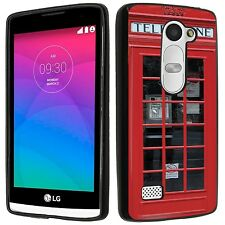 For LG Leon LTE Soft TPU gel skin cell phone Case cover-(BK)London Phone Booth