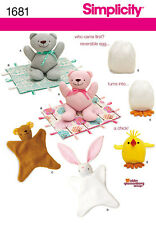 Simplicity Abby Glassenberg Toys Sewing Pattern 1681 Animal Blanket, Chick Toy