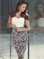 LIPSY MICHELLE KEEGAN NAVY BLUE CREAM LACE PUFF PRINT BODYCON CAMI SIZE 10 DRESS