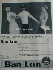 PUBLICITE BAN LON VETEMENT TEXTILE ROBE BONNETERIE CHAT DE 1956 FRENCH AD PUB